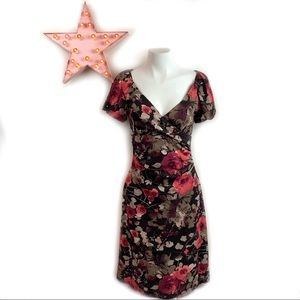 LE CHÂTEAU Floral Cross Bodice Puff Sleeve M